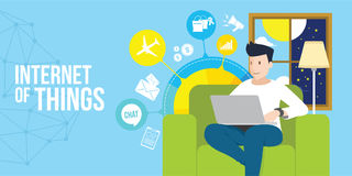 Internet of things man access internet with laptop Stock Photography