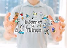 Internet of Things with man holding his hands Stock Image