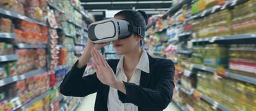Internet of things marketing concepts,smart augmented reality,customer use virtual glasses to see  the product that search by ai a. Pplication with hot deal stock photos