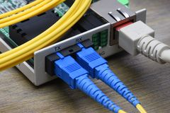 Internet Of Things Optical Fiber Converter. Information Technology Royalty Free Stock Photos