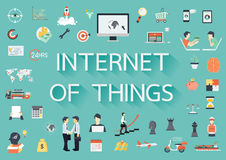 Internet of things paper text with long shadow and business flat icons. Banner template - Stock  Stock Photography