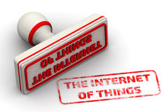 The Internet of Things. Seal and imprint. Red seal and imprint The Internet of Things on a white surface. The three-dimensional illustration Stock Images