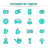 Internet of things and smart home, blue fill icons set Royalty Free Stock Photography