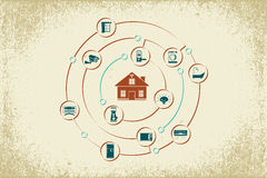 Internet of Things and smart home concept. stock illustration