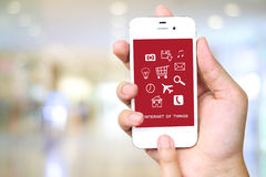 The internet of things on smart phone screen, technology concept stock image