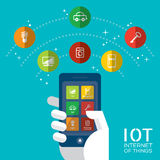 Internet of things with smartphone concept illustration. Internet of things concept illustration, Controlling your home appliances with smartphone Royalty Free Stock Photography