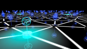The internet of things social network. The internet of things network with a glowing blue node symbolizing social interaction 3D illustration Royalty Free Stock Photography