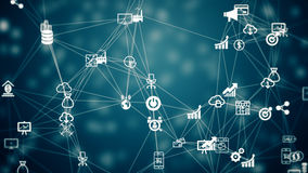 Internet of things, symbol of IT industry. Internet of things, background from the chaotically slow moving connected things Stock Photography