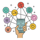 Internet of things. Technology concept, vector outline design Stock Photo