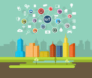 Internet of Things Technology. Smart city illustration Royalty Free Stock Photo
