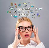Internet of Things text with business woman Royalty Free Stock Photos