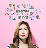 Internet of Things text with young woman. On a pink background Stock Images
