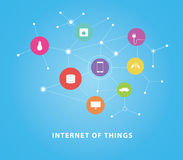 Internet of things. Today, the concept of connecting all home equipment to internet stock illustration