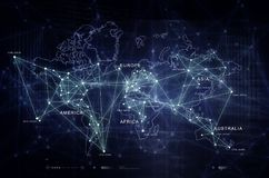 Internet of Things world connectivity map. Internet of Things technology, cyber security, data privacy and anti malware digital artwork green flavour Royalty Free Stock Photo