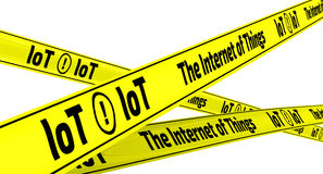 The Internet of Things. Yellow warning tapes Stock Images