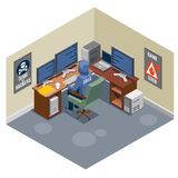 Internet Threats Isometric Composition. With anonymous hacker sitting at computer and activating virus attack vector illustration Stock Image