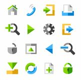 Internet and Toolbar icons, colored. Stock Image