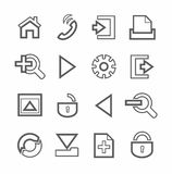 Internet and toolbar, icons, monochrome, linear. Royalty Free Stock Photography