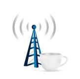 Internet tower coffee mug concept illustration Stock Images