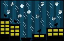 Internet town. A night in IT town vector illustration