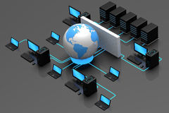 Internet Traffic. 3D illustration of computer server network, protected behind a firewall from the world wide web Royalty Free Stock Photo