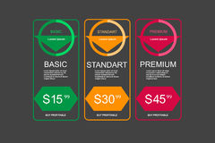 Internet traffic.Set offer tariffs. ui ux  banner for web app. set pricing table, order, box, button, list with plan for web Royalty Free Stock Images