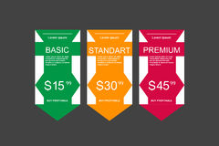 Internet traffic.Set offer tariffs. ui ux  banner for web app. set pricing table, order, box, button, list with plan for web Stock Image