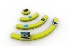 Internet tramite router sul pc Fotografia Stock