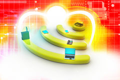 Internet tramite router sul pc del pc, del telefono, del computer portatile e della compressa. Immagine Stock Libera da Diritti