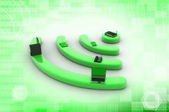 Internet tramite router sul pc del pc, del telefono, del computer portatile e della compressa. Fotografia Stock Libera da Diritti
