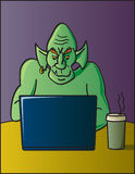 Internet Troll. A cartoon depiction of the term discussion board or internet troll Royalty Free Stock Image