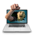 Internet Troll Pointing Angrily Stock Photo
