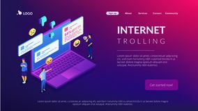 Internet trolling isometric 3D landing page. royalty free stock photography