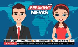 Internet TV breaking news male in a coat & female in red dress from a studio Stock Photo