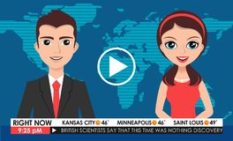 Internet TV breaking news male in a coat & female in red dress from a studio Stock Photography