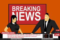 Internet TV breaking news male and female from a studio. Media on television broadcast vector concept Stock Photo