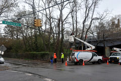 Internet and TV went off in the Sheepsheadbay area. BROOKLYN, NY - OCTOBER 29: Internet and TV went off in the Sheepsheadbay neighborhood due to flooding from Royalty Free Stock Photography