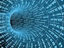 Internet un símbolo - un túnel abstracto 3d Foto de archivo libre de regalías