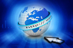 Internet URL with globe Royalty Free Stock Photo