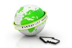 Internet URL with globe Stock Photo