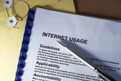 Internet usage. Abstract with internet definition of company rules for Royalty Free Stock Photos