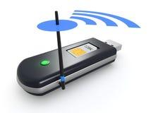 Internet usb key. One usb internet key with antenna and wireless symbol (3d render Royalty Free Stock Photos