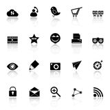 Internet useful icons with reflect on white background Royalty Free Stock Images