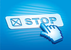 Internet utilization. Stop icon with abstract clicking fingers Stock Images
