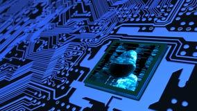 Internet van de raad van de het conceptenkring van dingencybersecurity met houwer Stock Afbeelding