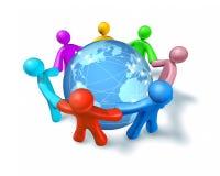 Internet van de wereld aanslutingen en netwerk Stock Foto's
