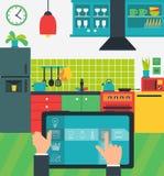 Internet van dingen in de keuken Royalty-vrije Stock Foto's