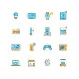 Internet van dingen, Internet-technologie vector vlakke pictogrammen Stock Afbeeldingen