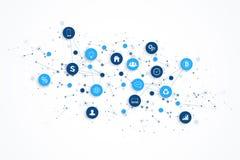 Internet van dingen IoT en het conceptontwerpvector van de netwerkverbinding Slim digitaal concept royalty-vrije illustratie