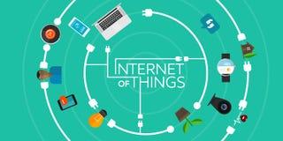 Internet van Dingen vlakke iconische illustratie Stock Foto
